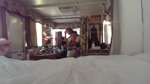 Inside the camper.